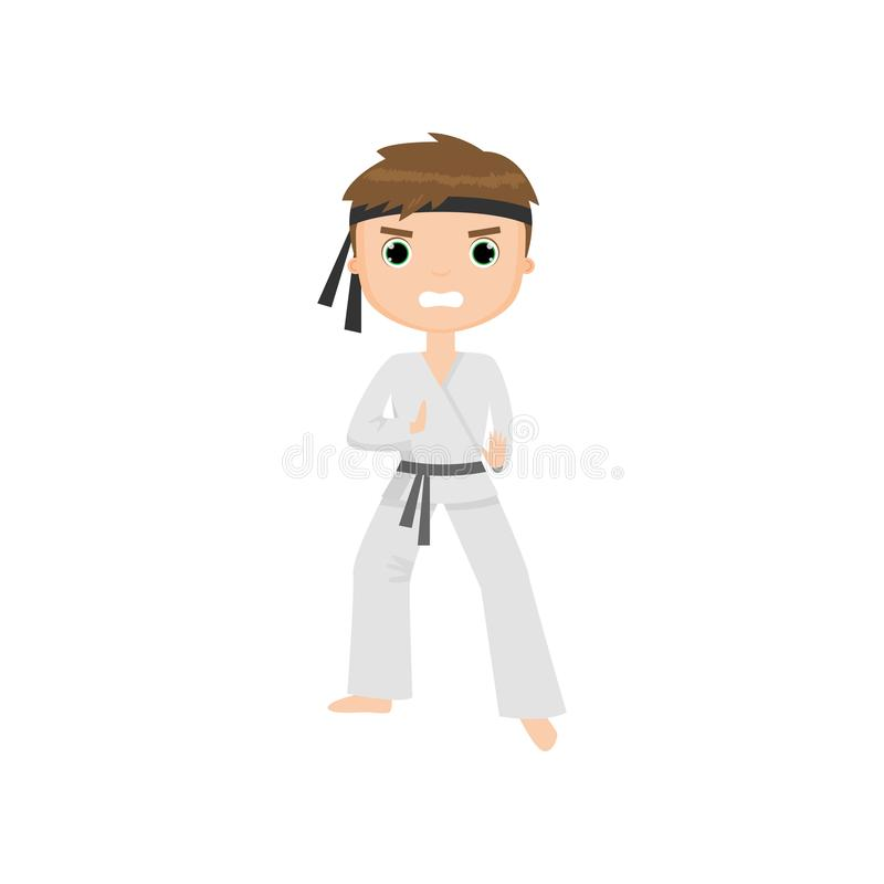 Fokuserad och ilsken gullig pys som gör karate som isoleras på vit bakgrund vektor illustrationer