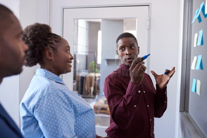 Fokuserade afrikanska coworkers som planerar med klibbiga anmärkningar i ett kontor royaltyfria foton