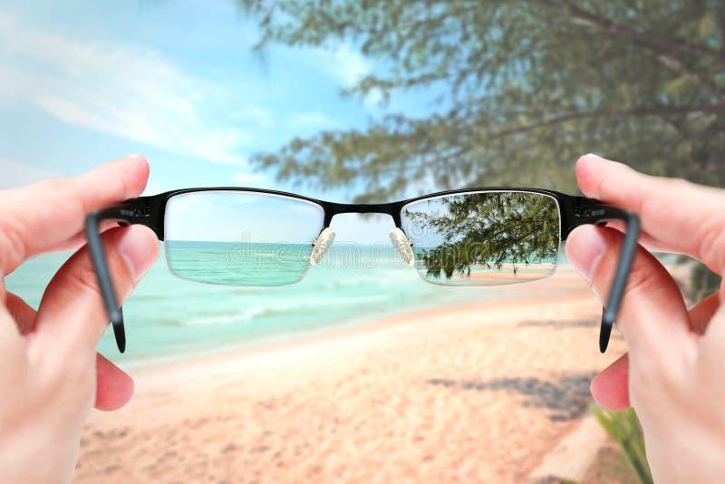 Fokuserar hållande exponeringsglas för kvinnlig hand spegellinsen på sandhavslopp royaltyfri bild