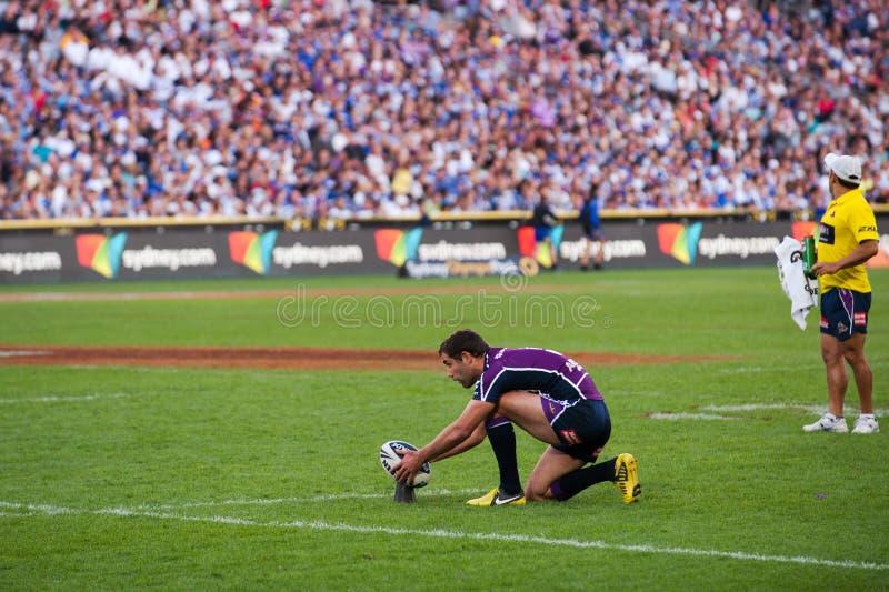 Fokusering på portarna i rugby royaltyfri foto