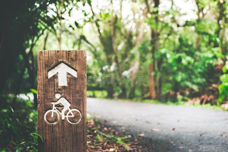 Fokusfahrrad- oder -fahrradwegzeichenpfosten im grünen Baum mit bokeh Sonnenlichthintergrund lizenzfreie stockbilder
