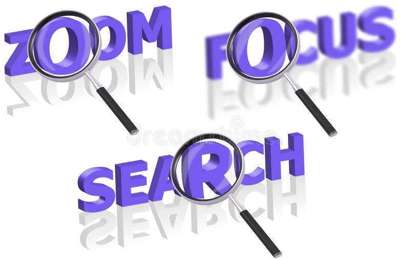 Fokusrecherche und -lautes Summen vektor abbildung