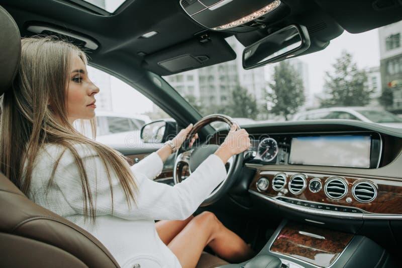 Fokussierte junge Geschäftsfrau, die im Neuwagen findet stockbilder
