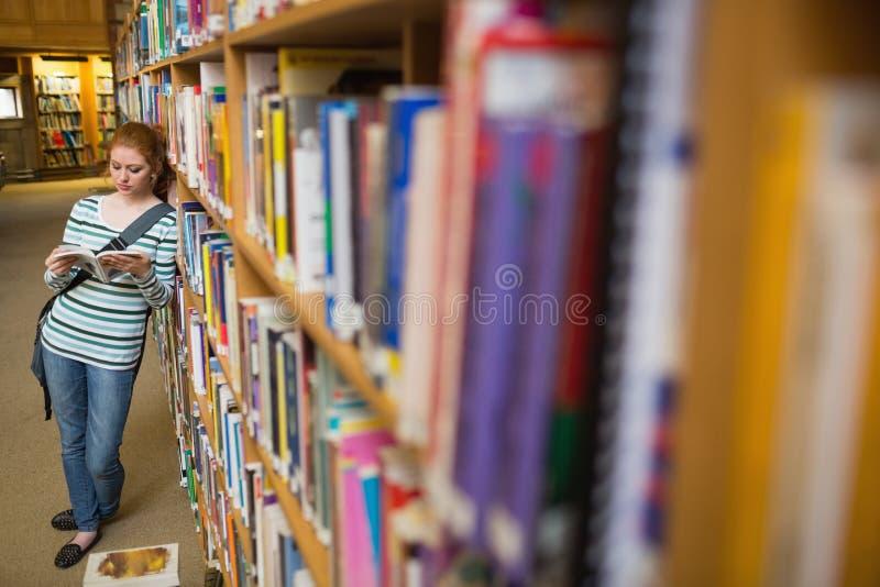 Fokussiertes Studentenlesebuch, das auf Regal in der Bibliothek sich lehnt lizenzfreie stockbilder