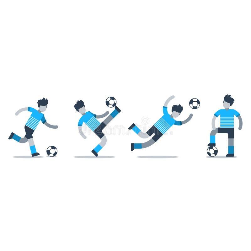 Folâtre l'activité, ensemble d'équipe de football de joueurs illustration stock