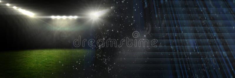 Folâtre l'effet de transition de lumières de stade avec l'obscurité illustration libre de droits