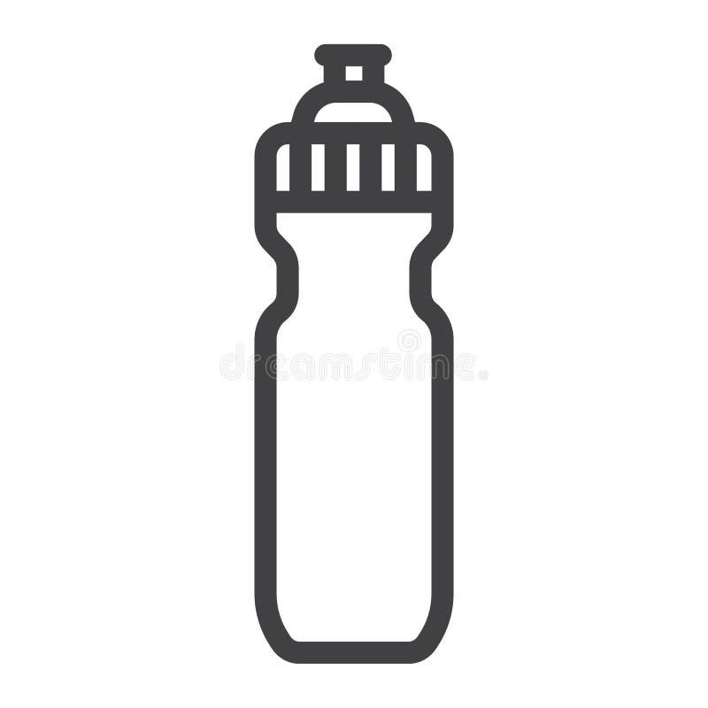 Folâtre la ligne de bouteille d'eau icône, forme physique et sport illustration stock