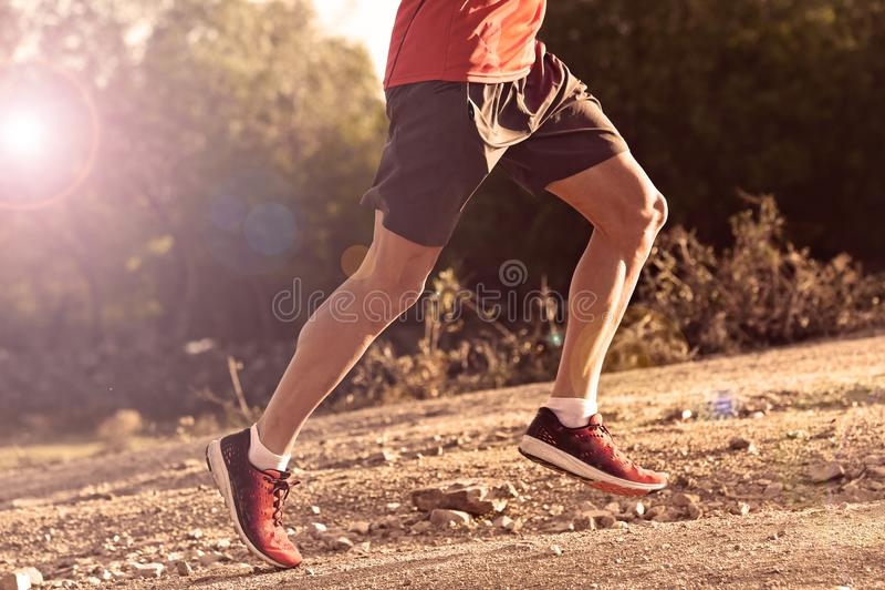 Folâtrez l'homme avec les jambes sportives et musculaires déchirées fonctionnant vers le haut outre de la route dans la séance d' photos libres de droits