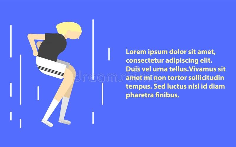 Folâtrez l'illustration plate d'icône de fille de séance d'entraînement d'exercice de femme de forme physique Illustration de ban illustration stock