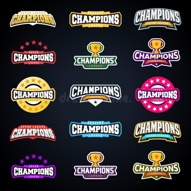 Folâtrez le champion ou soutenez l'ensemble de typographie d'emblème de ligue illustration de vecteur