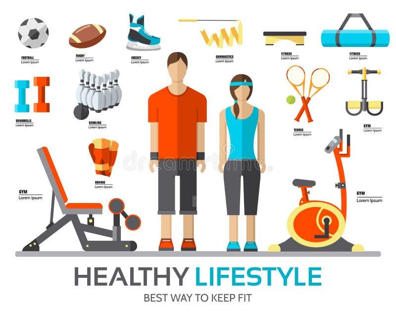Folâtrez le montant de la vie infographic avec le dispositif, l'équipement et les articles de gymnase Appareillage de formation s illustration de vecteur