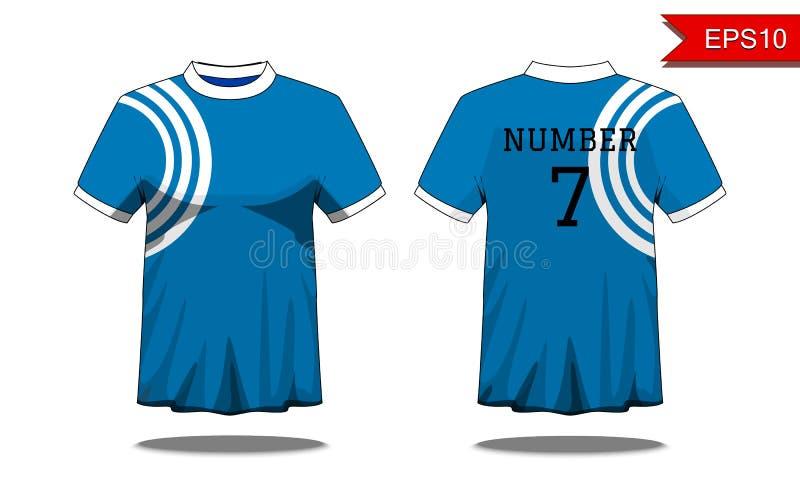 Folâtrez le T-shirt du ` s d'hommes avec la douille courte dans l'avant et la vue arrière Bl illustration de vecteur