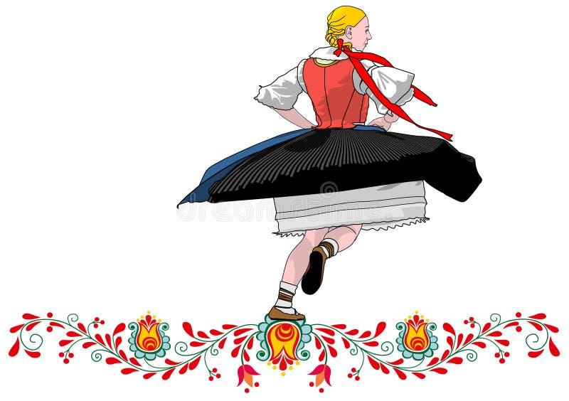 Folclore checo del bailarín ilustración del vector