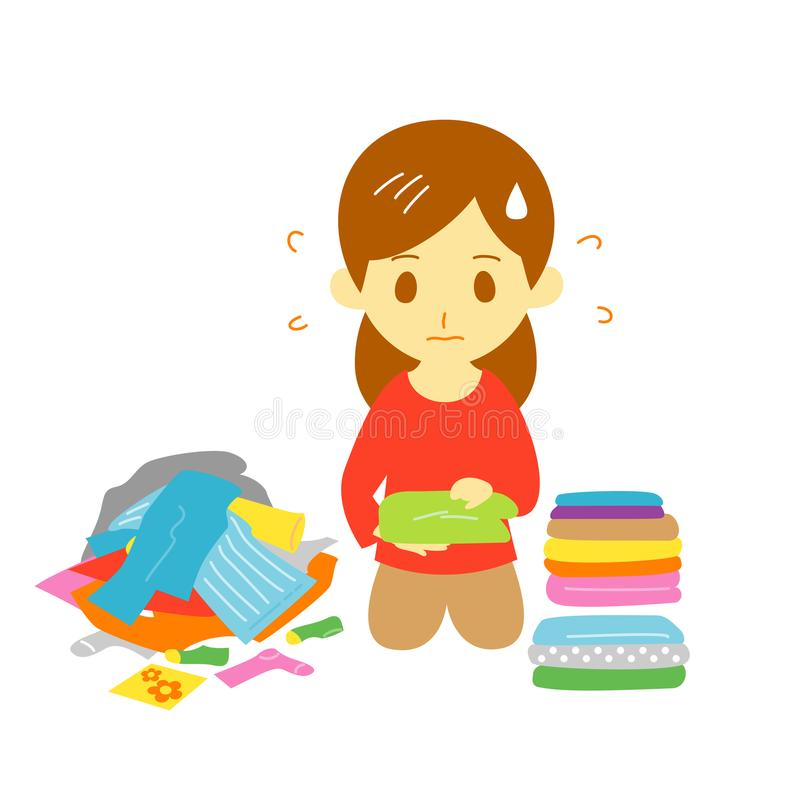 Fold the laundry, young woman vector illustration