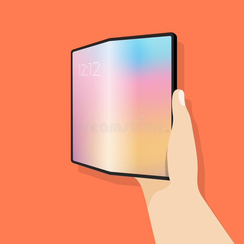 Foldable screen phone in hand. Smartphone with large screen and display is flexible to bend. Vector illustration stock illustration