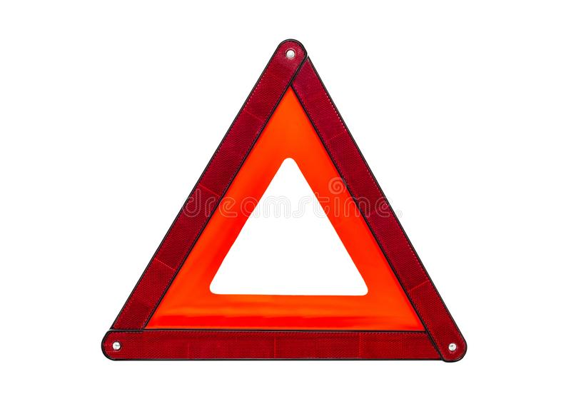 Foldaway, reflective road hazard warning triangle isolated on a white background with a clipping path. stock photos