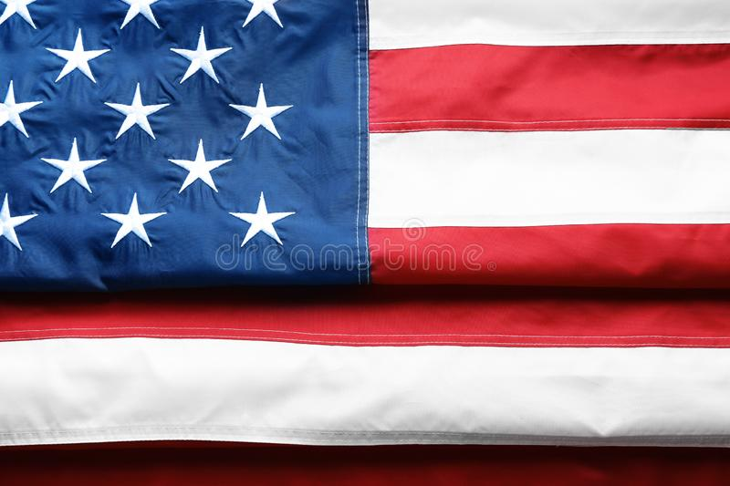 Folded American flag as background. Top view stock photo