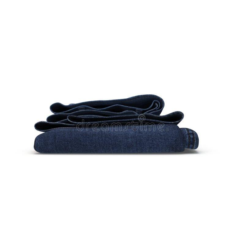Folded blue jeans isolated in white. 3D illustration stock illustration