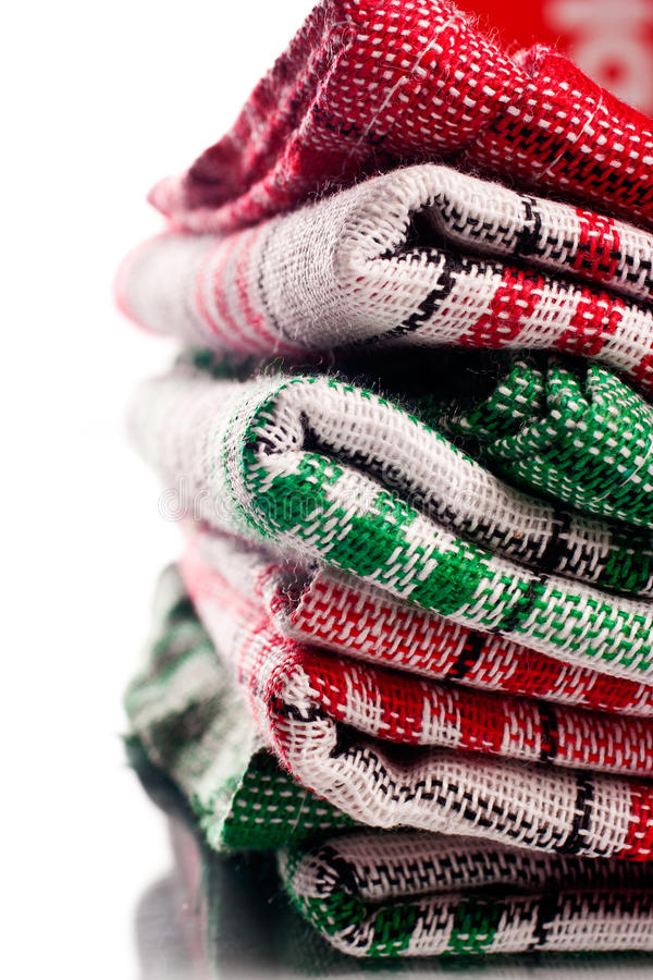 Folded Cloth Pieces Over White Background Stock Photos