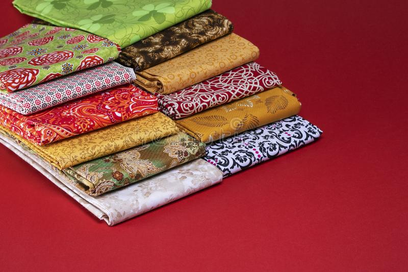 Folded fabric for crafting projects royalty free stock photos