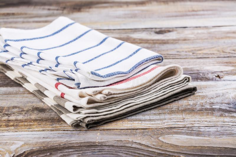 Folded kitchen towels stock images