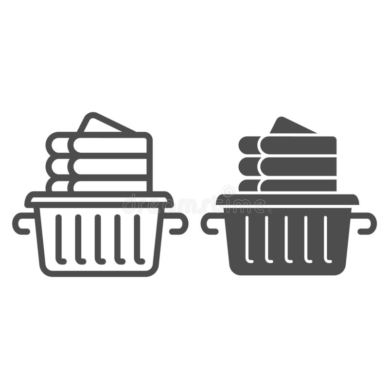 Folded linen line and glyph icon. Laundry clothes in basket vector illustration isolated on white. Folded towels outline. Style design, designed for web and app royalty free illustration
