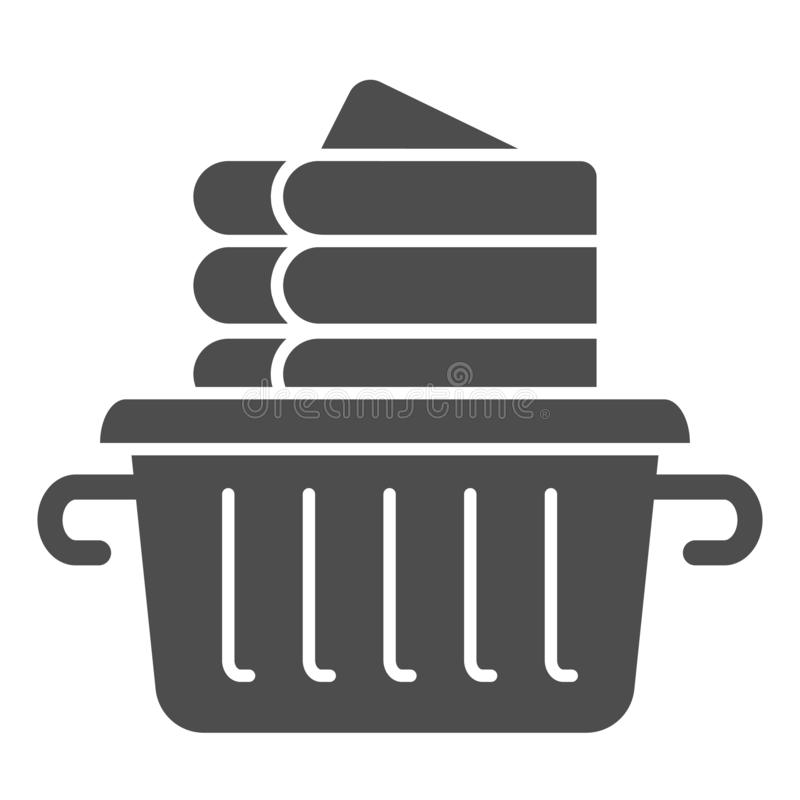 Folded linen solid icon. Laundry clothes in basket vector illustration isolated on white. Folded towels glyph style. Design, designed for web and app. Eps 10 royalty free illustration