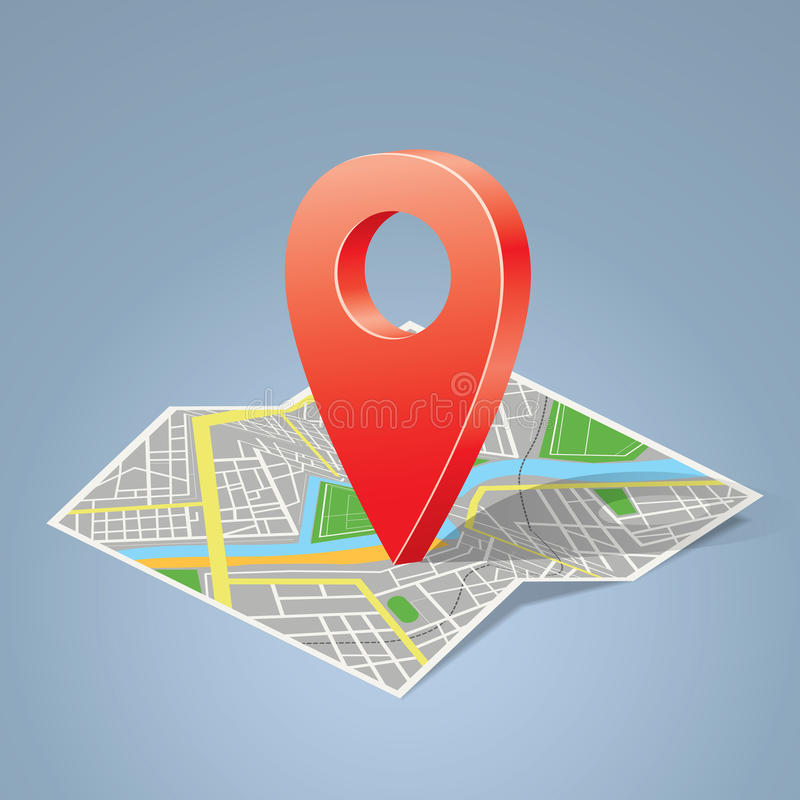 Download Folded Map With Color Label, Point Marker. Stock Photo - Image: 28028510
