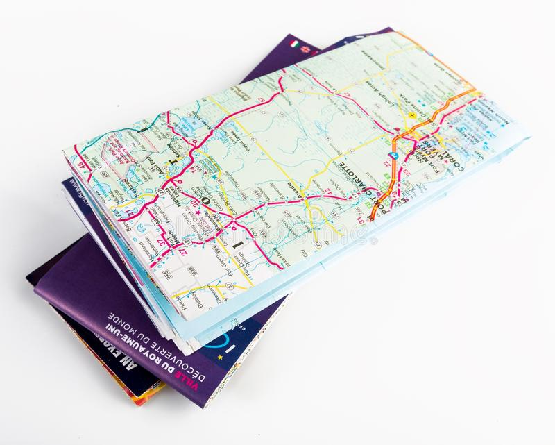 Folded Map stock image  Image of street, tourism, highway