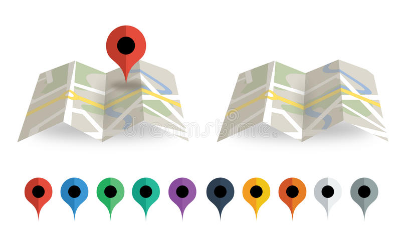 Folded map with map pointer. Folded map set with 3D map and 10 map pointers. Google Map Style