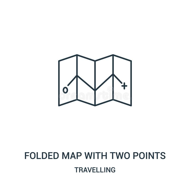 Free Folded Map With Two Points Icon Vector From Travelling Collection. Thin Line Folded Map With Two Points Outline Icon Vector Stock Image - 142612491