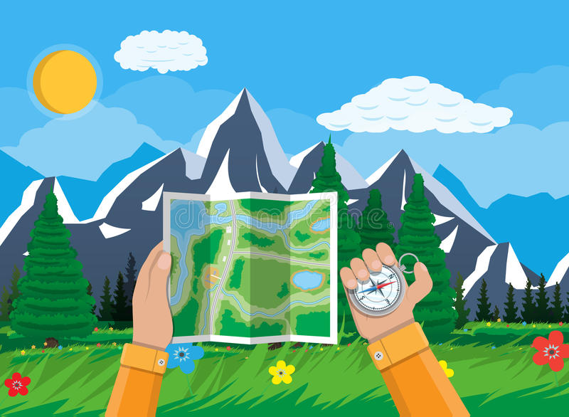 Folded paper city map and compass in hands royalty free illustration