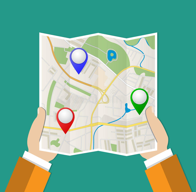Folded Paper Map In Hand vector illustration