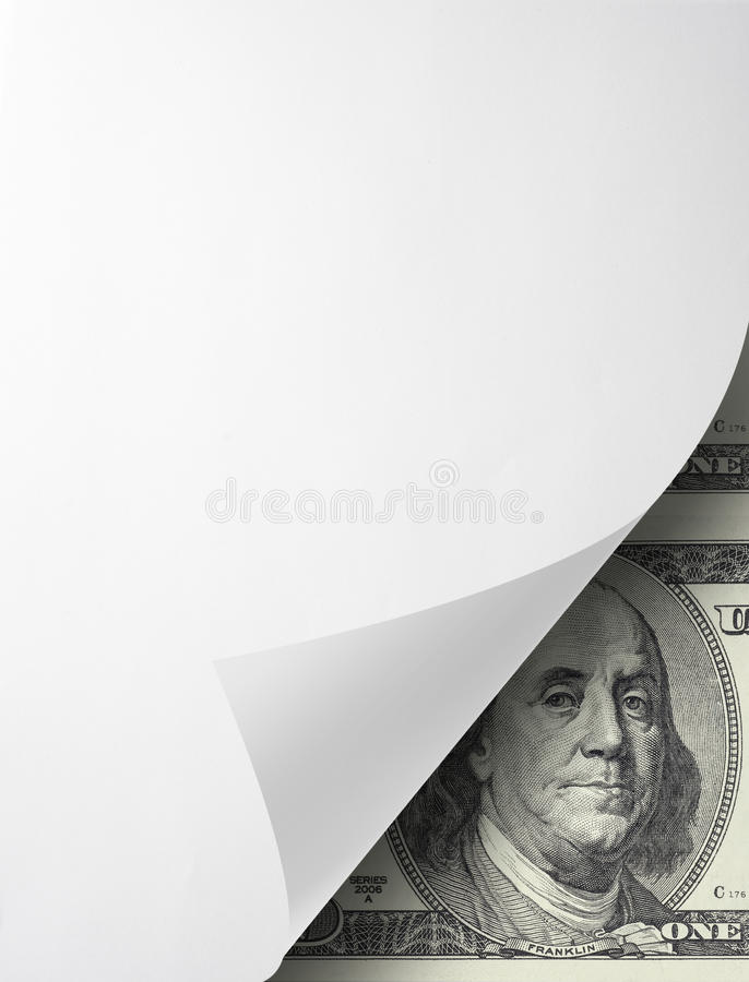 Folded paper with one hundred dollar bill royalty free stock photo