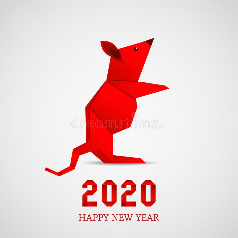 Folded paper origami animal mouse or rat symbol of 2020 according to the Chinese calendar. Design greeting card with numbers inscription. vector illustration vector illustration
