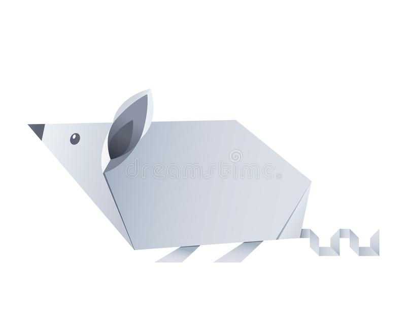 Folded paper origami animal mouse or rat symbol of 2020 according to the Chinese calendar. Vector illustration isolated on white background royalty free illustration