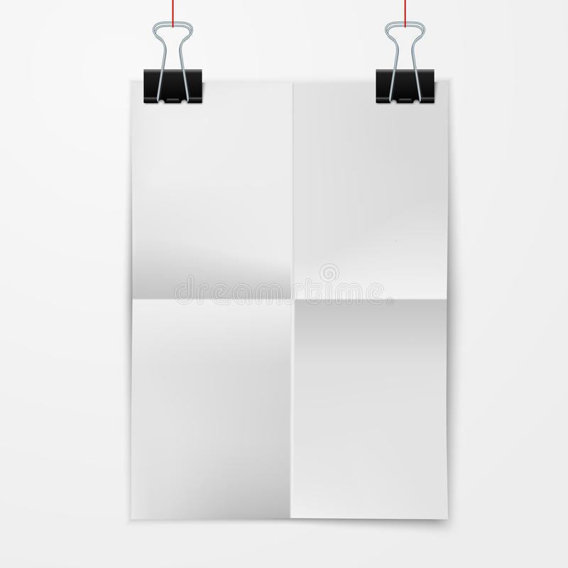 Folded paper sheet with binder clip. Folded blank paper sheet hanging on binder clips on white background vector illustration royalty free illustration