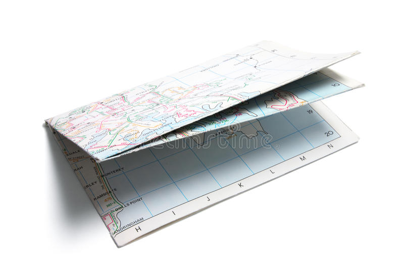 Folded Paper Street Map royalty free stock photography