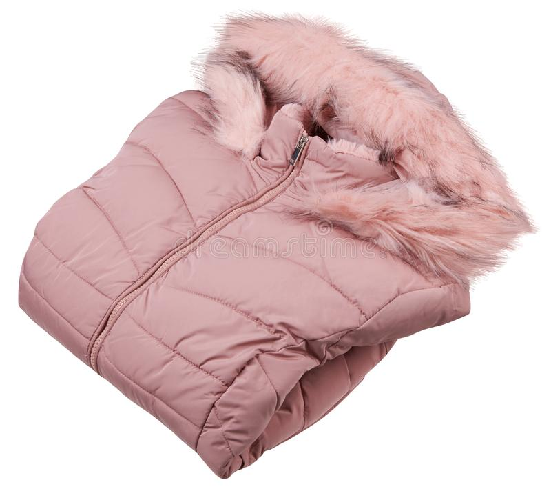 Folded pink woman full zipper down jacket, rain proof winter jacket with fur isolated on a white background. Fashionable hooded female jacket stock image