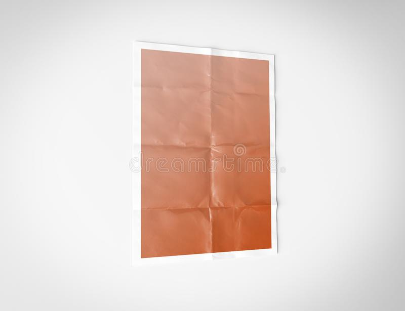 Folded poster isolated on white background Mockup 3D redenring. Folded paper poster isolated on white background Mockup 3D redenring stock illustration