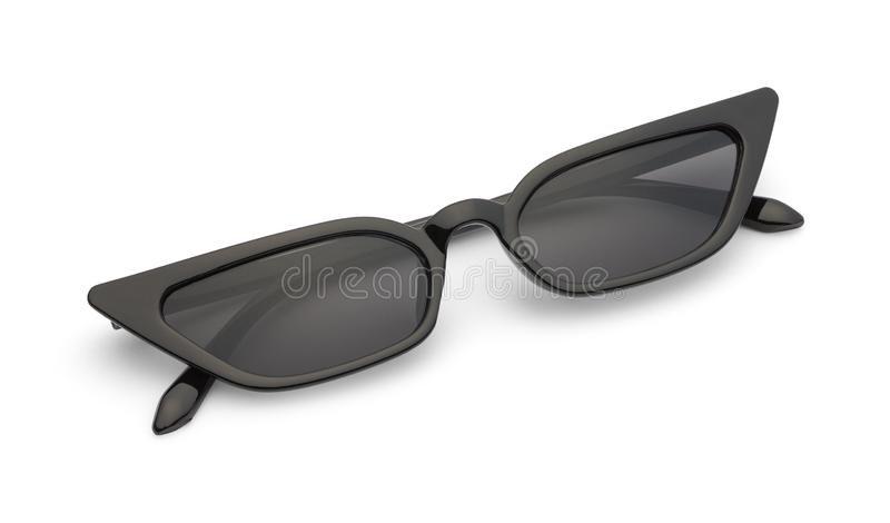 Folded Slim Black Sunglasses stock image