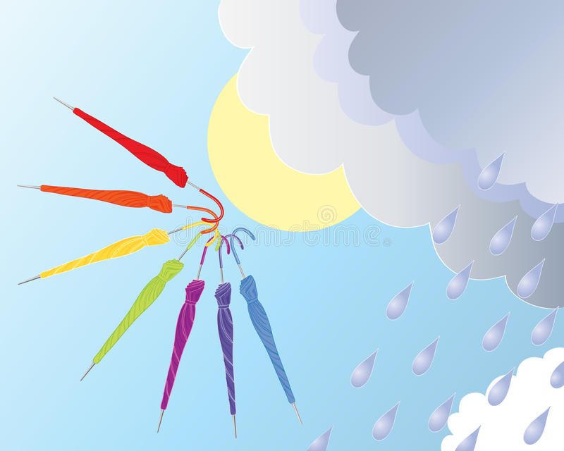 Folded umbrellas. An illustration of seven colorful folded umbrellas with stormy clouds sunshine and raindrops against a blue sky royalty free illustration