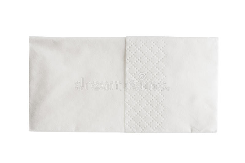 Folded white paper handkerchief isolated on white stock photos