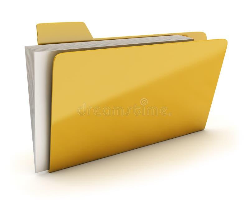 Folder. Yellow brilliant folder with documents. 3d image. Isolated white background stock illustration