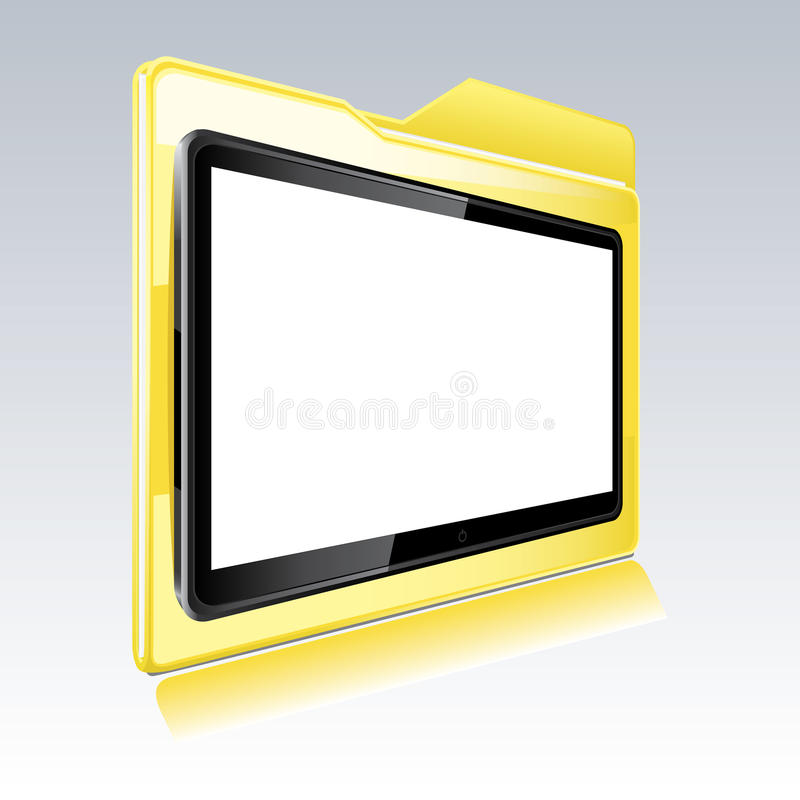 Folder with abstract monitor royalty free illustration