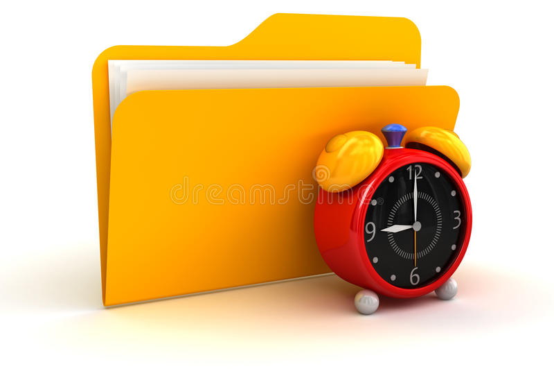 Folder And Alarm Clock Stock Images