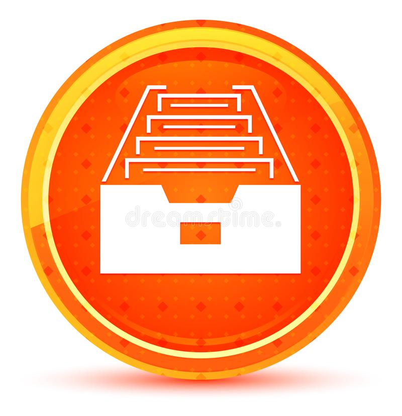 Folder archive cabinet icon natural orange round button vector illustration