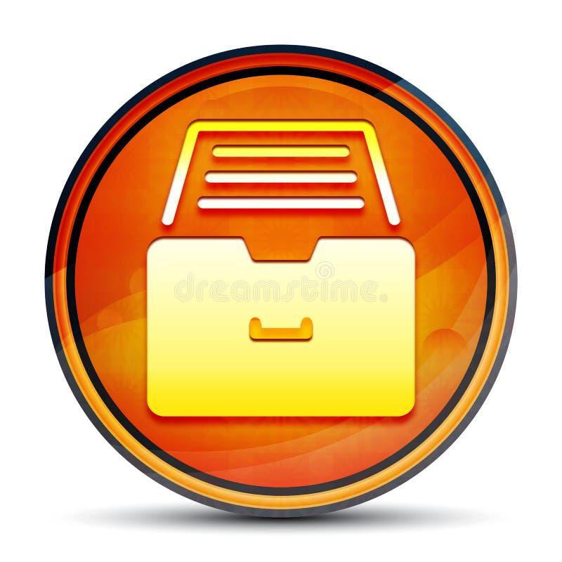 Folder archive cabinet icon shiny bright orange round button illustration stock illustration
