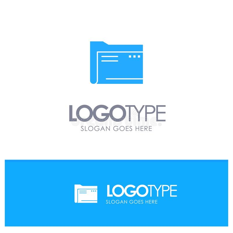 Folder, Archive, Computer, Document, Empty, File, Storage Blue Solid Logo with place for tagline stock illustration