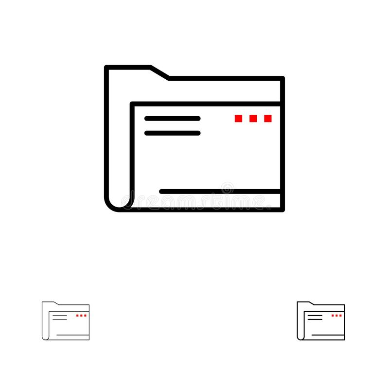Folder, Archive, Computer, Document, Empty, File, Storage Bold and thin black line icon set vector illustration